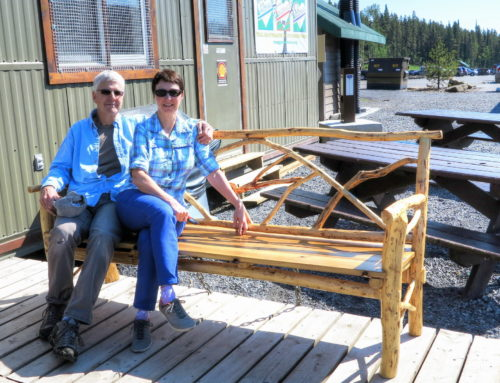 Rustic furniture bench donated by Tom & Linda Galeski